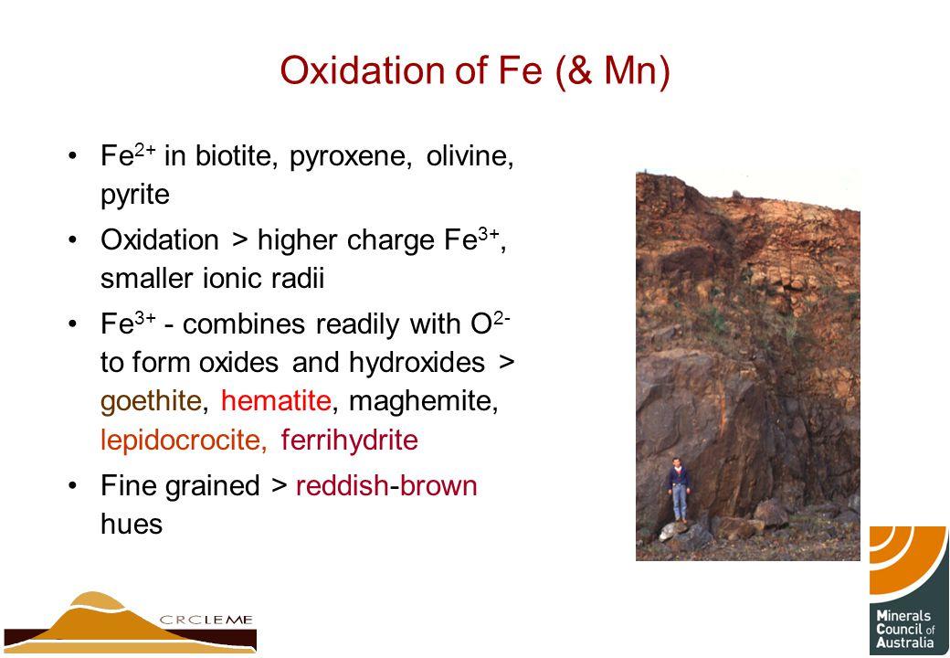 Oxidation of Fe (& Mn) Fe2+ in biotite, pyroxene, olivine, pyrite