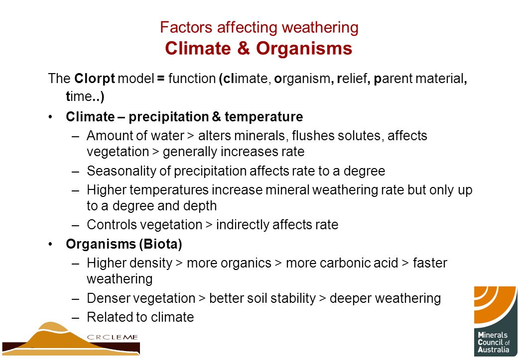 Factors affecting weathering Climate & Organisms