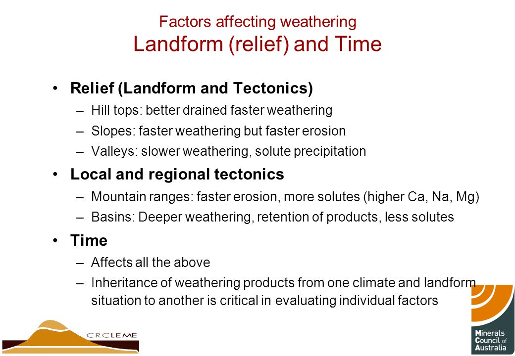 Factors affecting weathering Landform (relief) and Time
