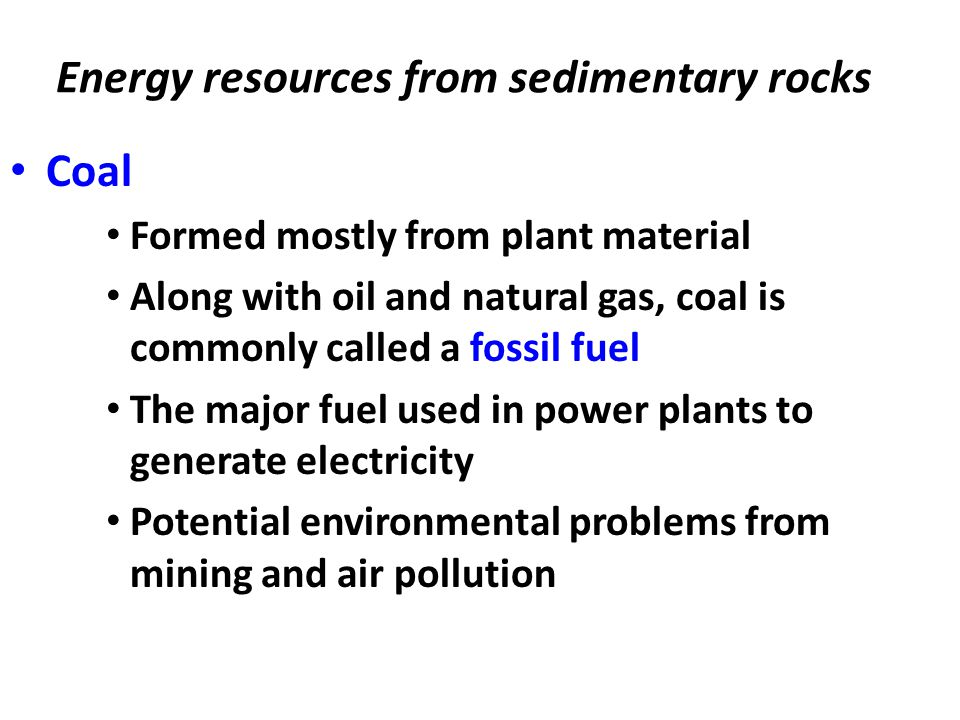 Energy resources from sedimentary rocks