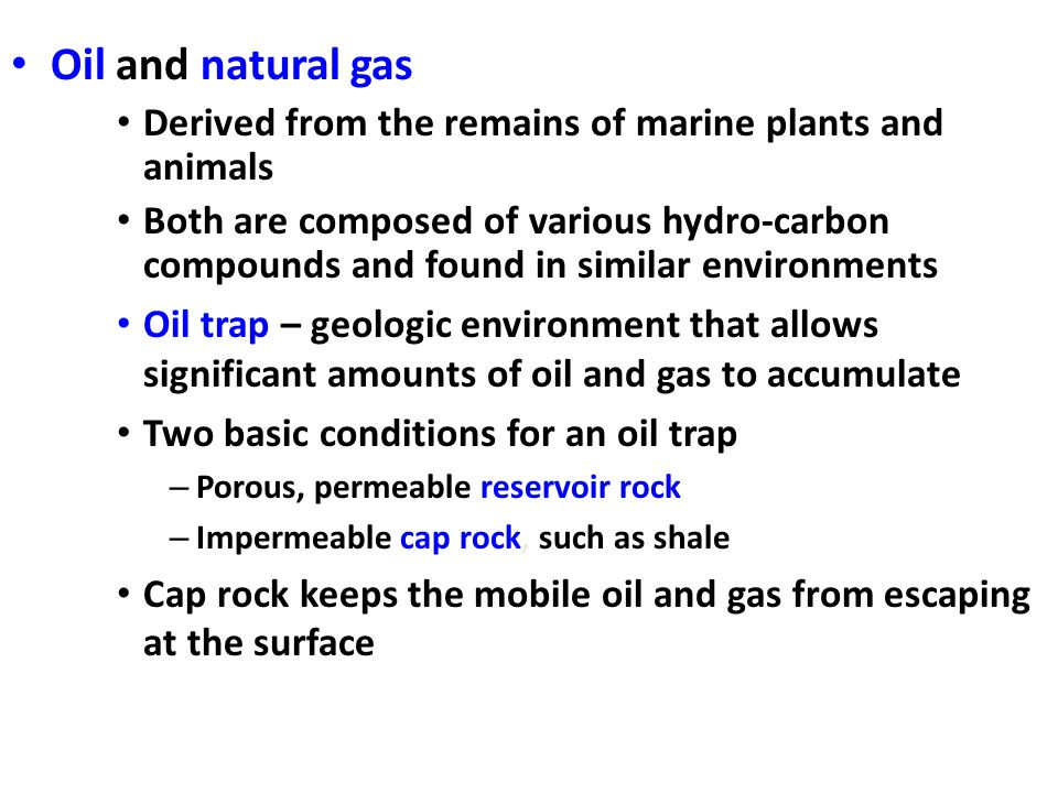Oil and natural gas Derived from the remains of marine plants and animals.
