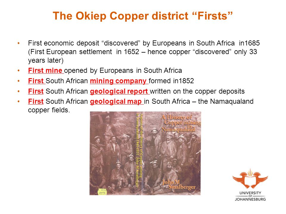 The Okiep Copper district Firsts