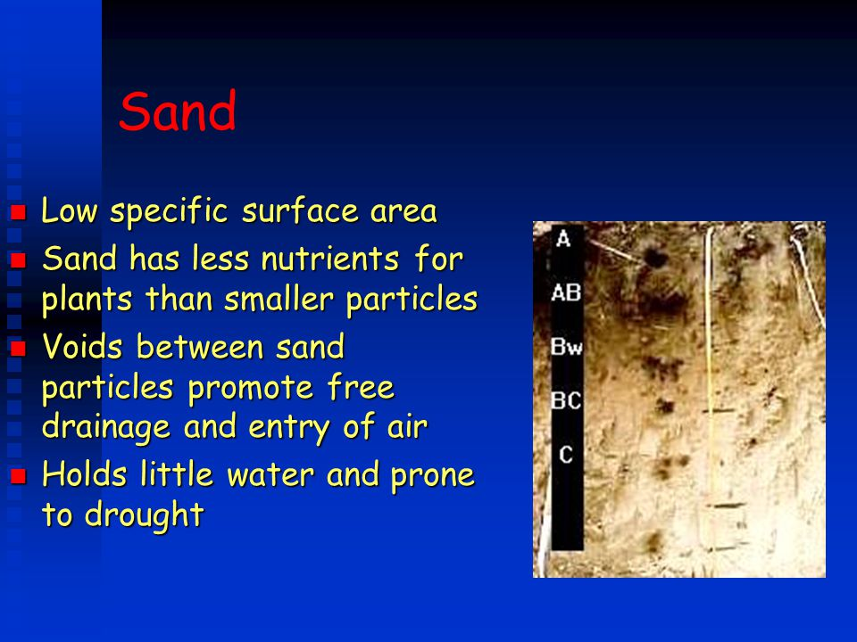 Sand Low specific surface area