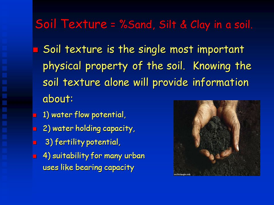 Soil Texture = %Sand, Silt & Clay in a soil.