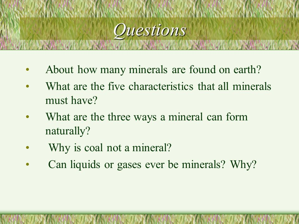 Questions About how many minerals are found on earth