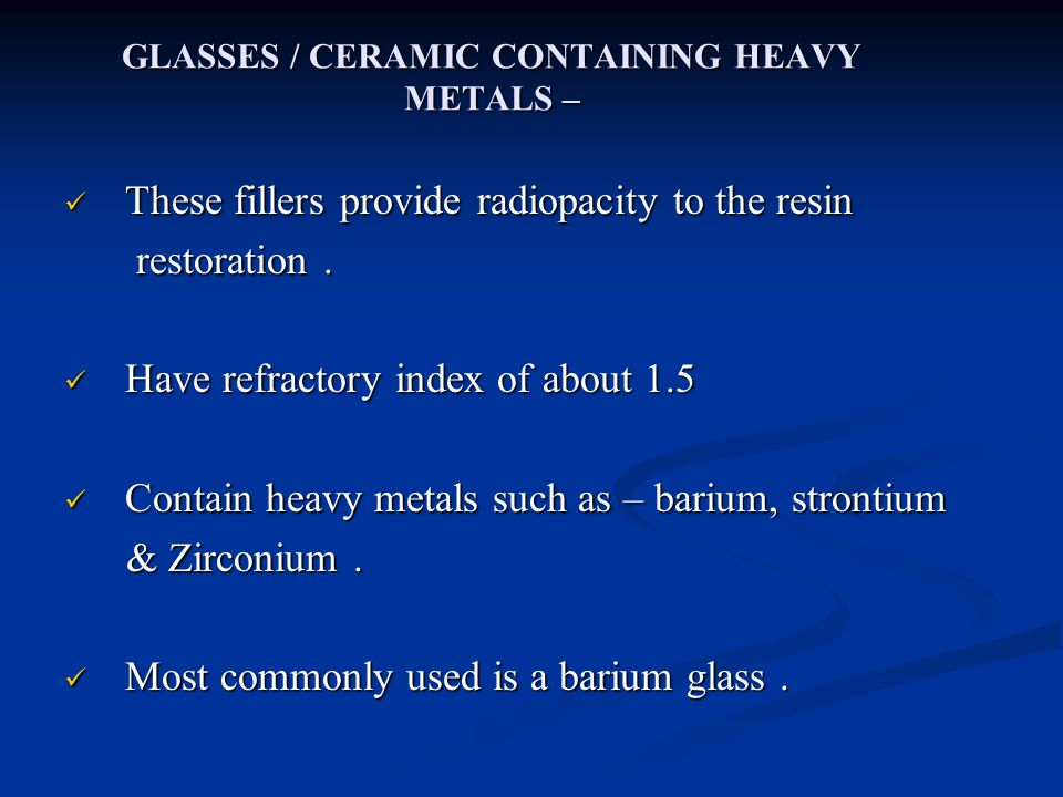 GLASSES / CERAMIC CONTAINING HEAVY METALS –