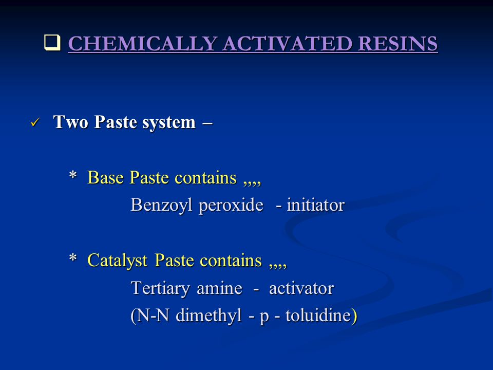CHEMICALLY ACTIVATED RESINS