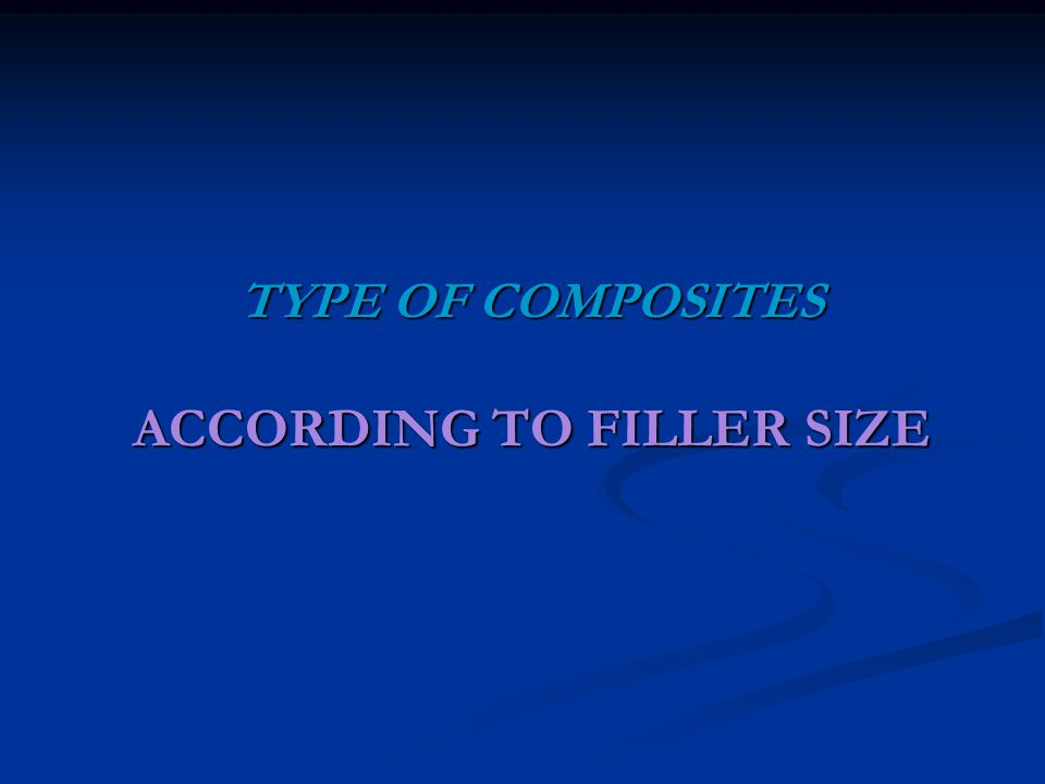 TYPE OF COMPOSITES ACCORDING TO FILLER SIZE