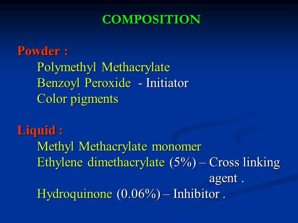 COMPOSITION Powder : Polymethyl Methacrylate. Benzoyl Peroxide - Initiator. Color pigments. Liquid :