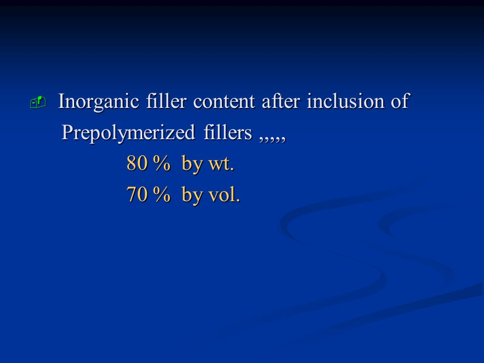 Inorganic filler content after inclusion of