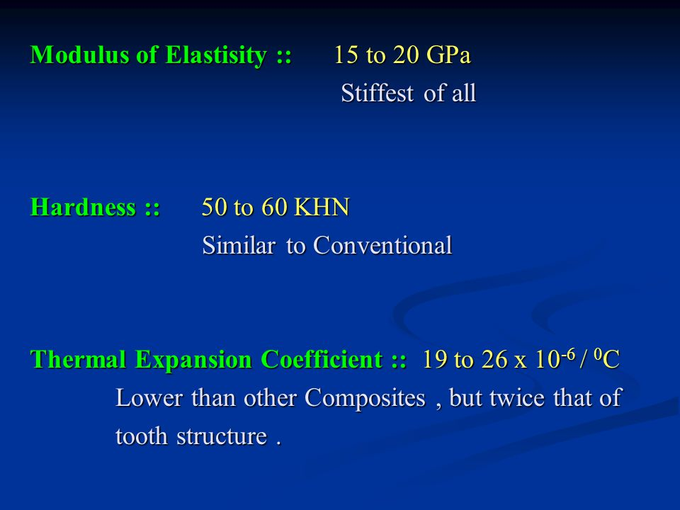 Modulus of Elastisity :: 15 to 20 GPa Stiffest of all Hardness :: 50 to 60 KHN Similar to Conventional Thermal Expansion Coefficient :: 19 to 26 x 10-6 / 0C Lower than other Composites , but twice that of tooth structure .