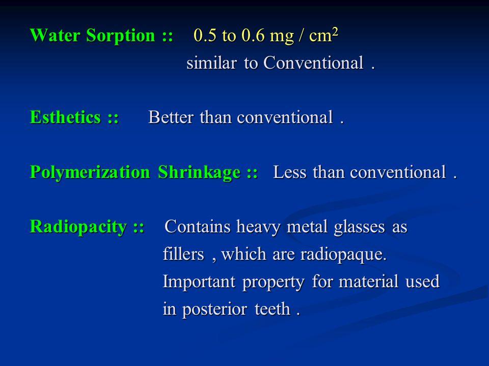 Water Sorption :: 0.5 to 0.6 mg / cm2