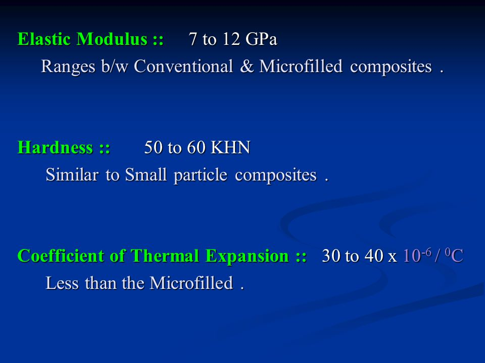 Elastic Modulus :: 7 to 12 GPa Ranges b/w Conventional & Microfilled composites .