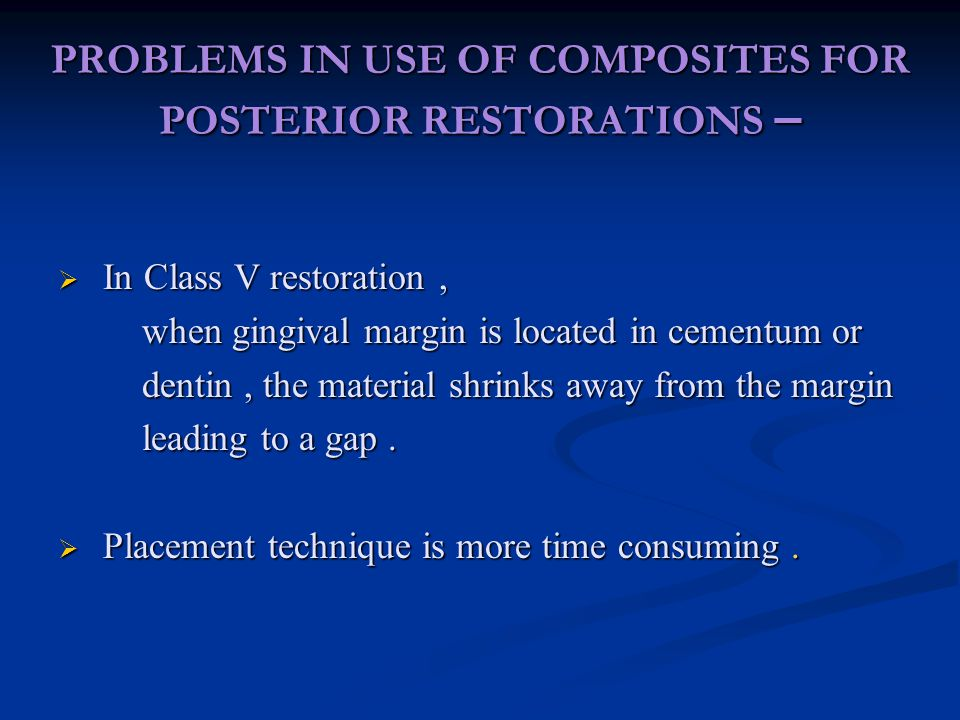 PROBLEMS IN USE OF COMPOSITES FOR POSTERIOR RESTORATIONS –