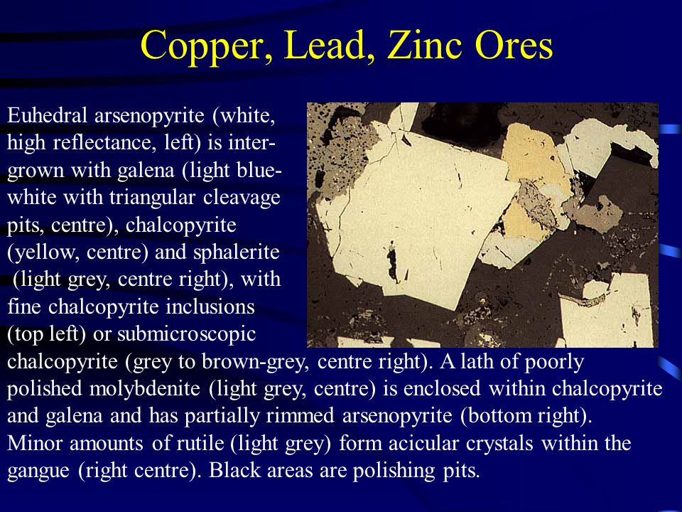 Copper, Lead, Zinc Ores Euhedral arsenopyrite (white,