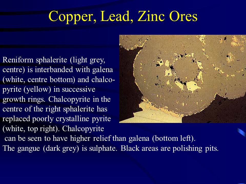 Copper, Lead, Zinc Ores Reniform sphalerite (light grey,
