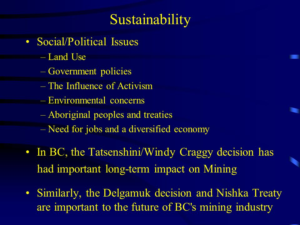 Sustainability Social/Political Issues