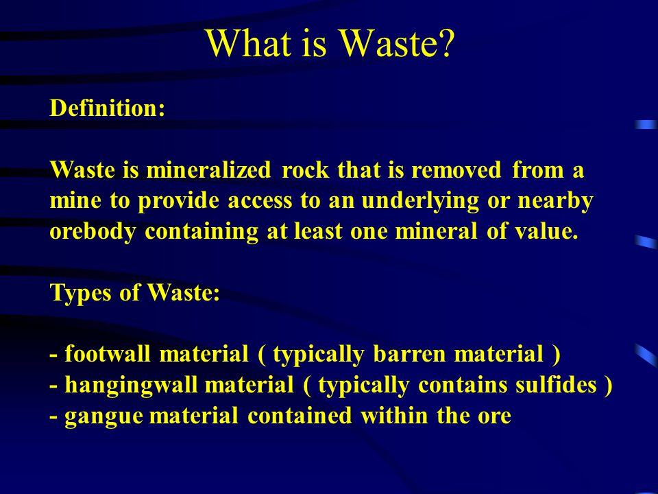 What is Waste Definition: