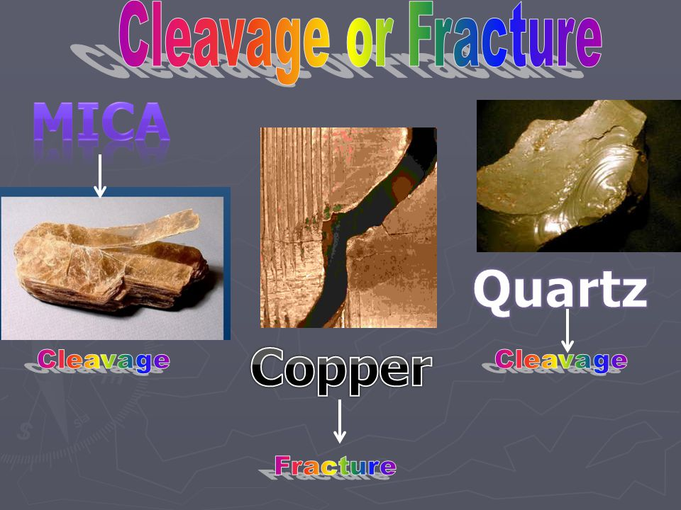 Cleavage or Fracture Mica Quartz Copper Cleavage Cleavage Fracture