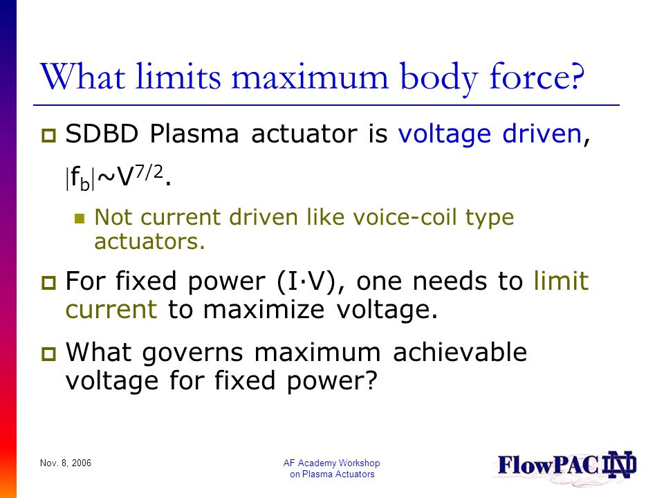 What limits maximum body force