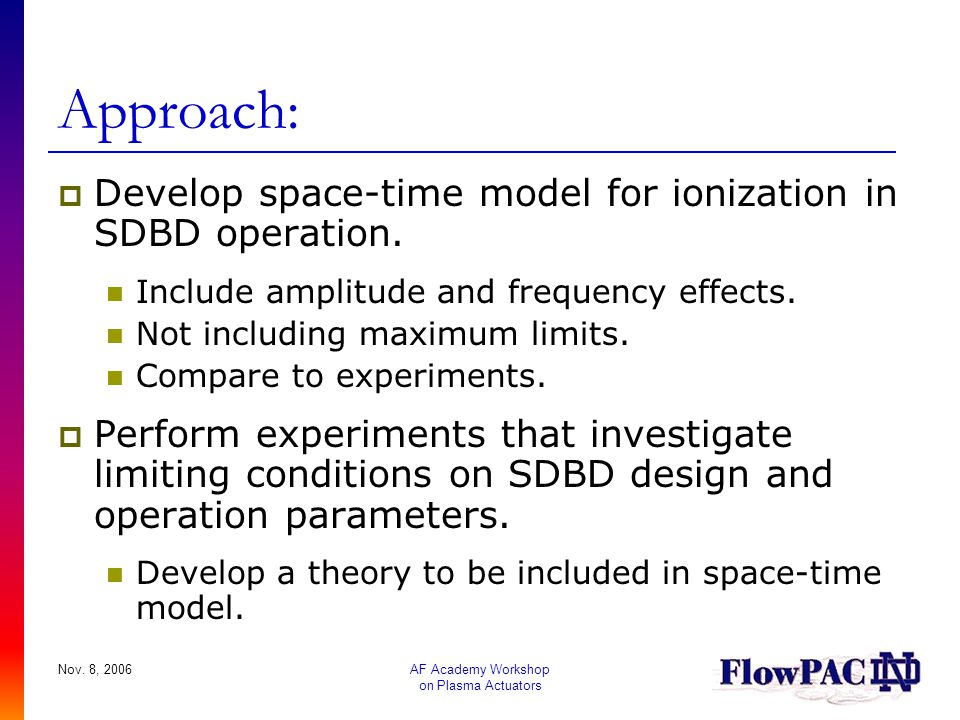 Approach: Develop space-time model for ionization in SDBD operation.