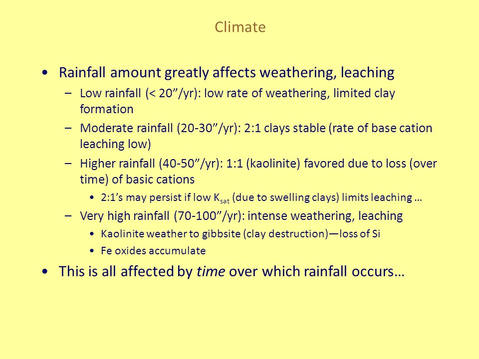 Climate Rainfall amount greatly affects weathering, leaching