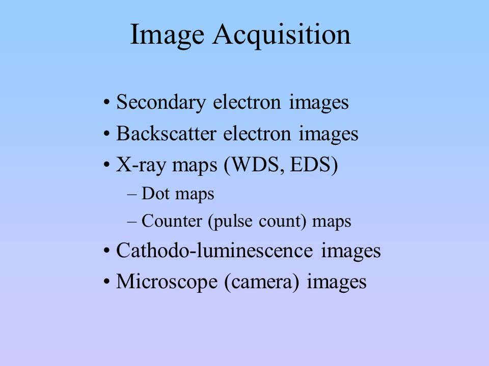 Image Acquisition Secondary electron images