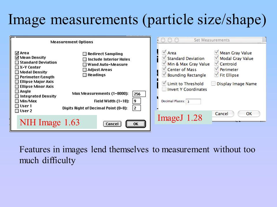 Image measurements (particle size/shape)