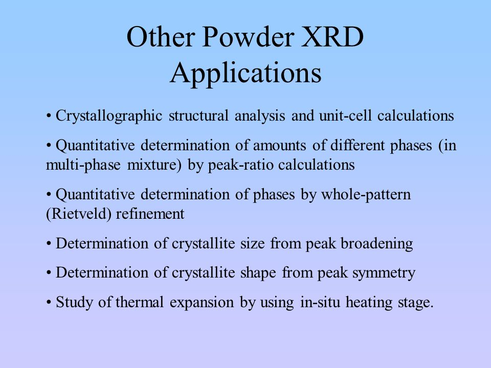 Other Powder XRD Applications