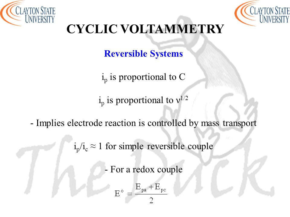 CYCLIC VOLTAMMETRY Reversible Systems ip is proportional to C