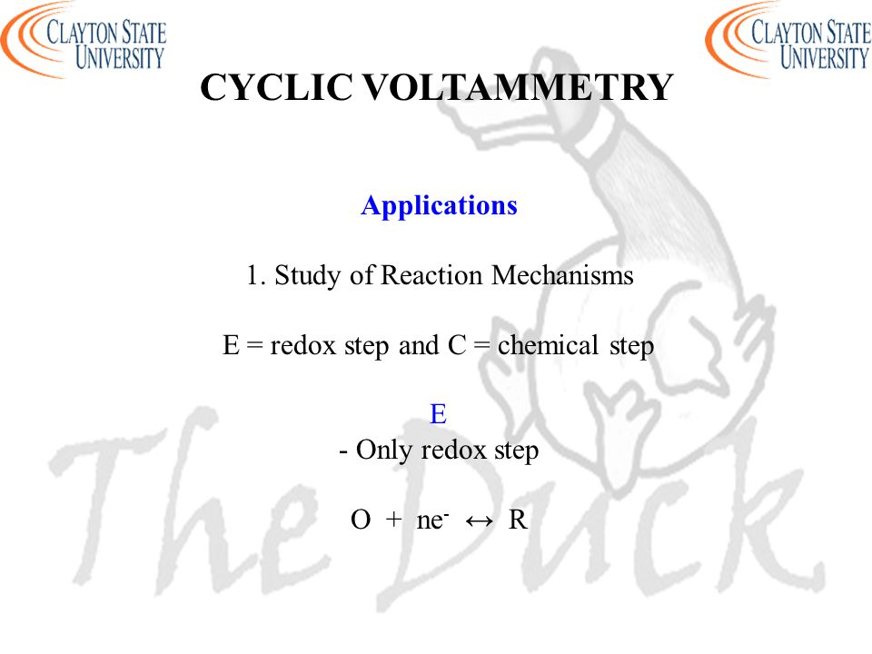 CYCLIC VOLTAMMETRY Applications 1. Study of Reaction Mechanisms