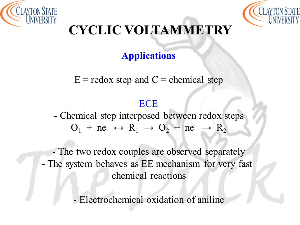 CYCLIC VOLTAMMETRY Applications E = redox step and C = chemical step