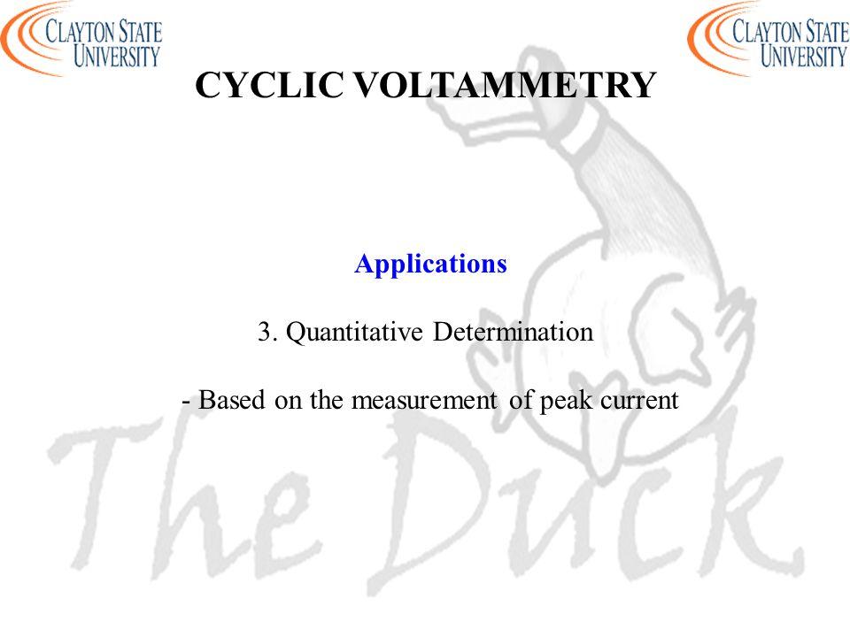 CYCLIC VOLTAMMETRY Applications 3. Quantitative Determination
