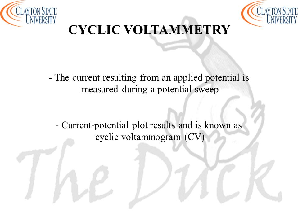 CYCLIC VOLTAMMETRY - The current resulting from an applied potential is. measured during a potential sweep.