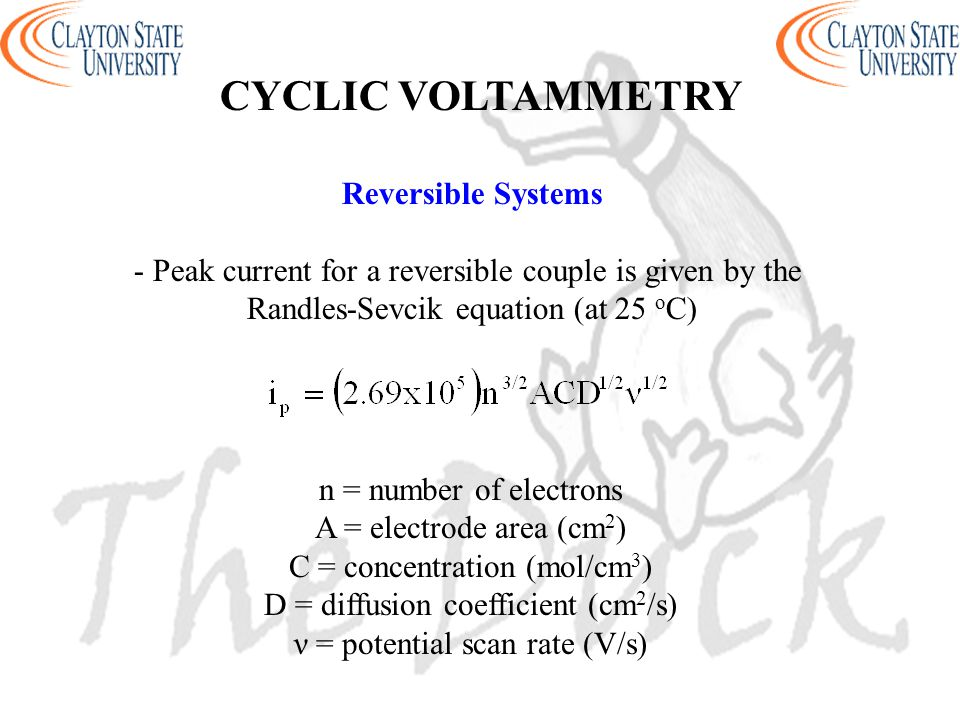 CYCLIC VOLTAMMETRY Reversible Systems
