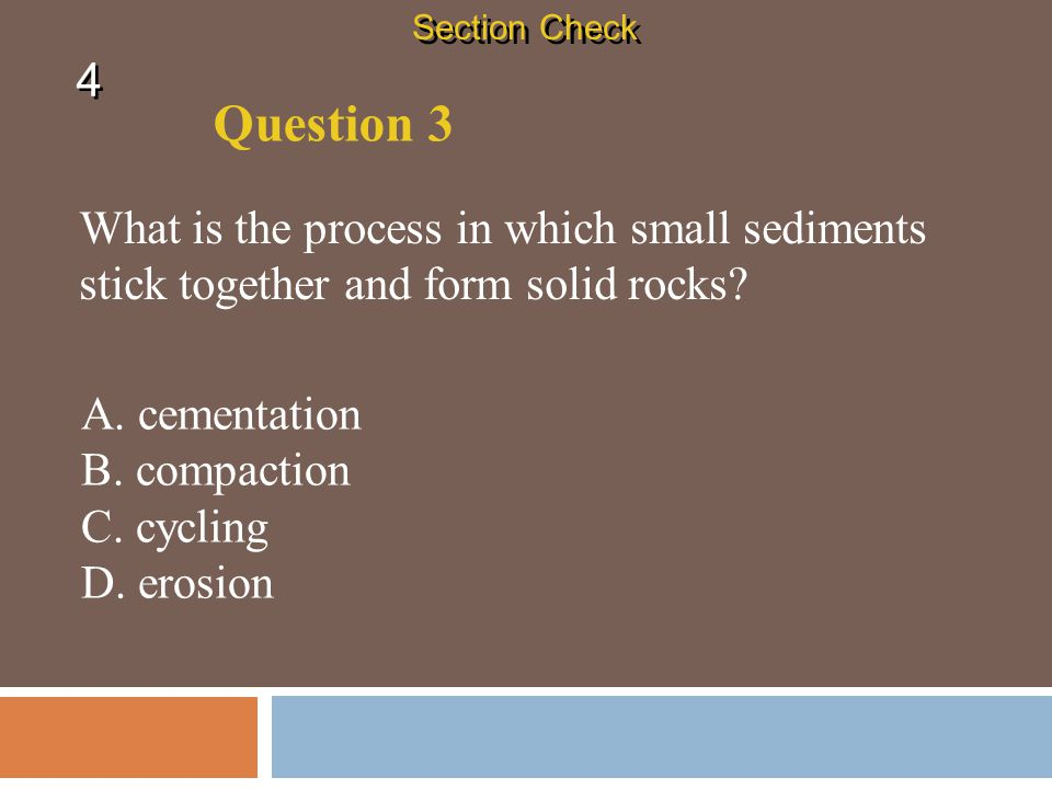 Section Check 4. Question 3. What is the process in which small sediments stick together and form solid rocks