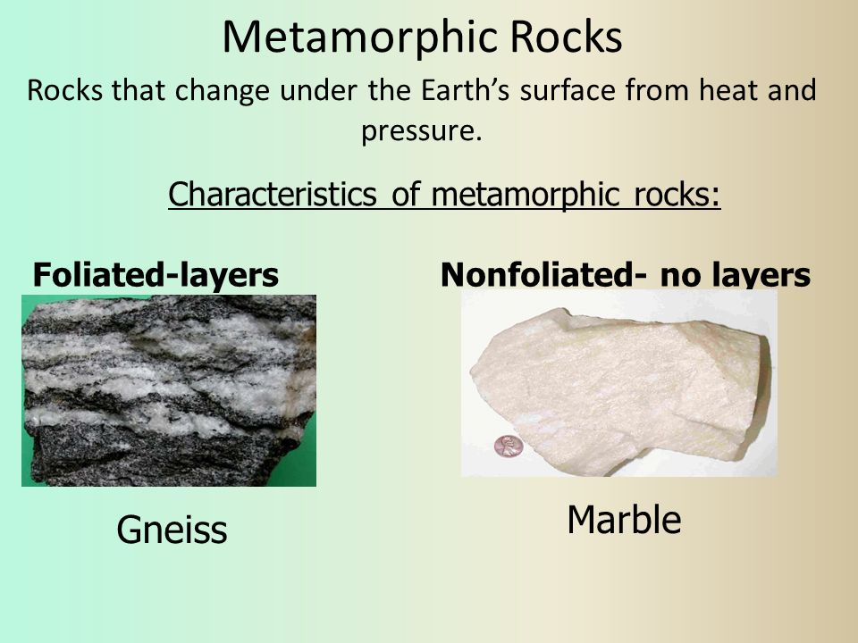 Rocks that change under the Earth's surface from heat and pressure.