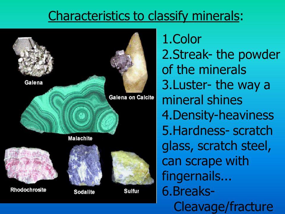 Characteristics to classify minerals: