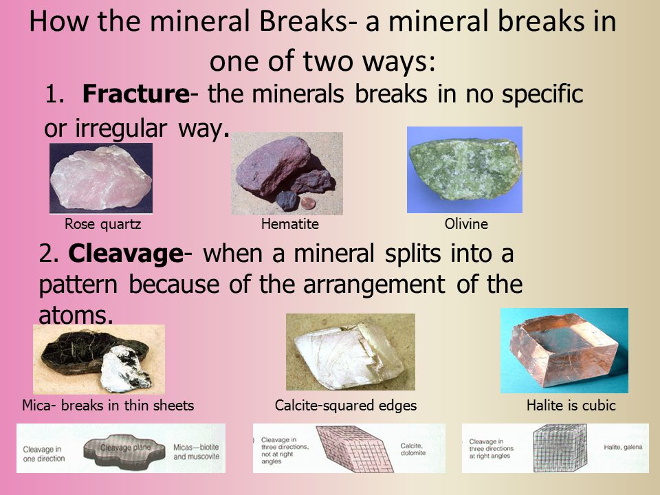 How the mineral Breaks- a mineral breaks in one of two ways: