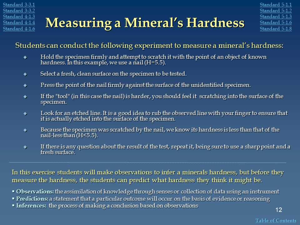 Measuring a Mineral's Hardness