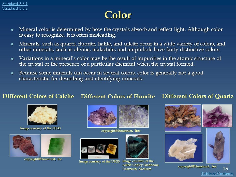 Color Different Colors of Calcite Different Colors of Fluorite