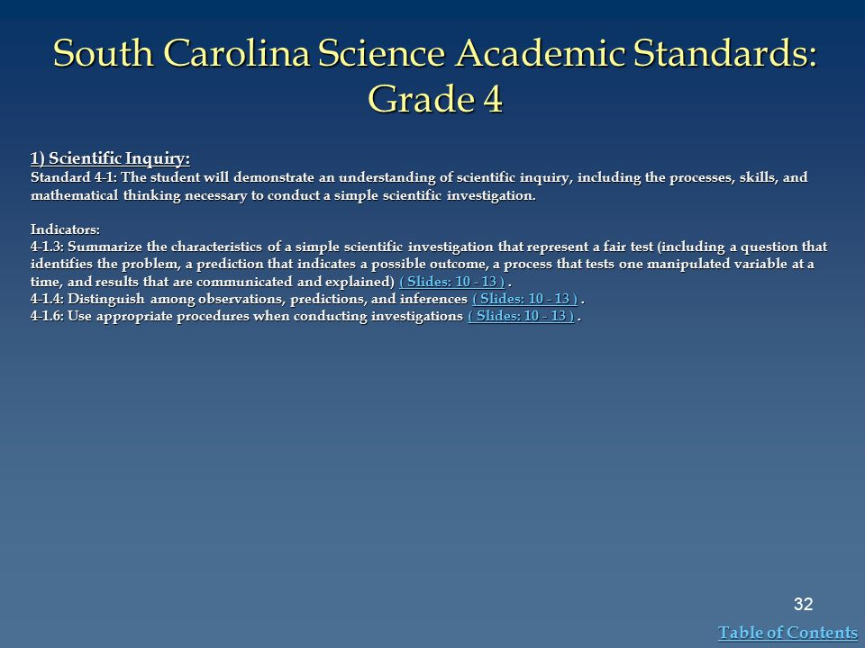 South Carolina Science Academic Standards: Grade 4