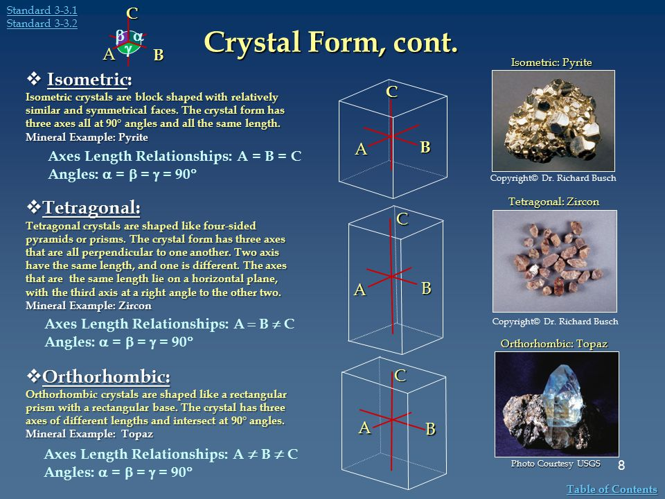Crystal Form, cont. Isometric: Tetragonal: Orthorhombic: C B A    C
