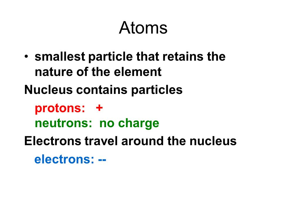 Atoms smallest particle that retains the nature of the element