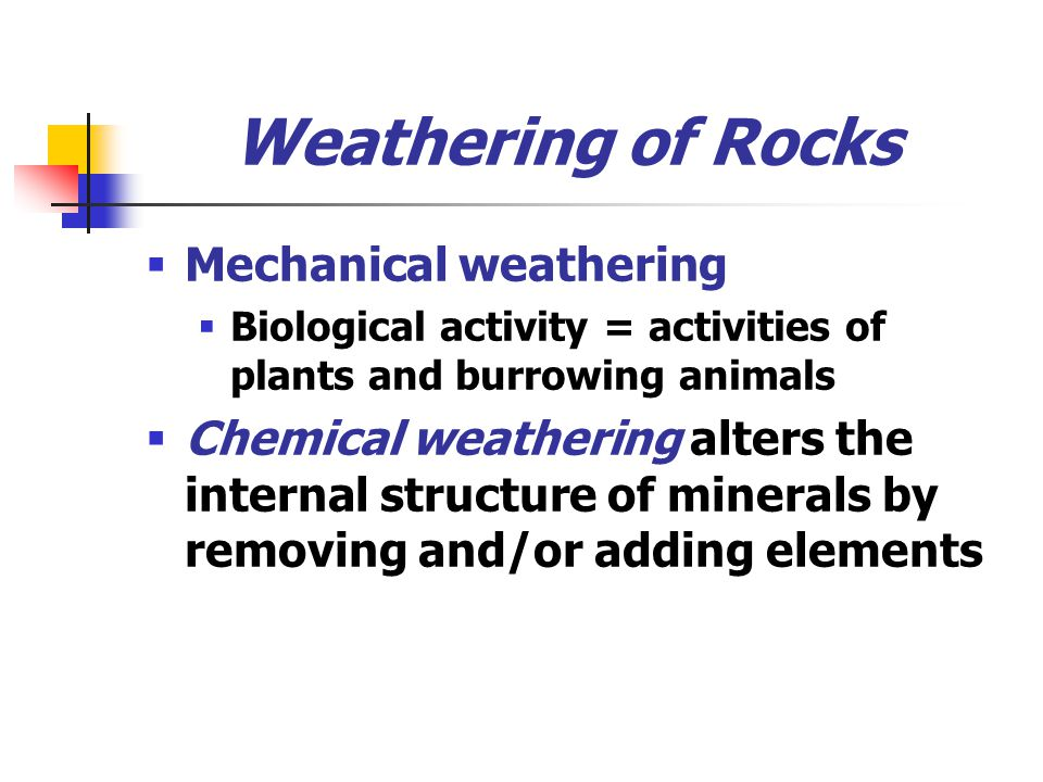 Weathering of Rocks Mechanical weathering