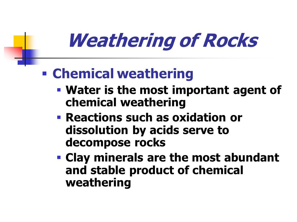 Weathering of Rocks Chemical weathering