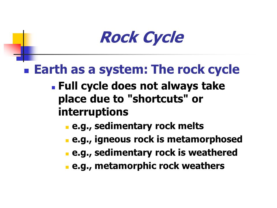 Rock Cycle Earth as a system: The rock cycle
