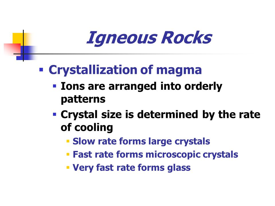 Igneous Rocks Crystallization of magma