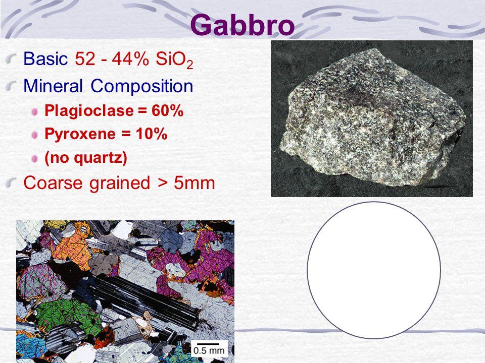 Gabbro Basic 52 - 44% SiO2 Mineral Composition Coarse grained > 5mm