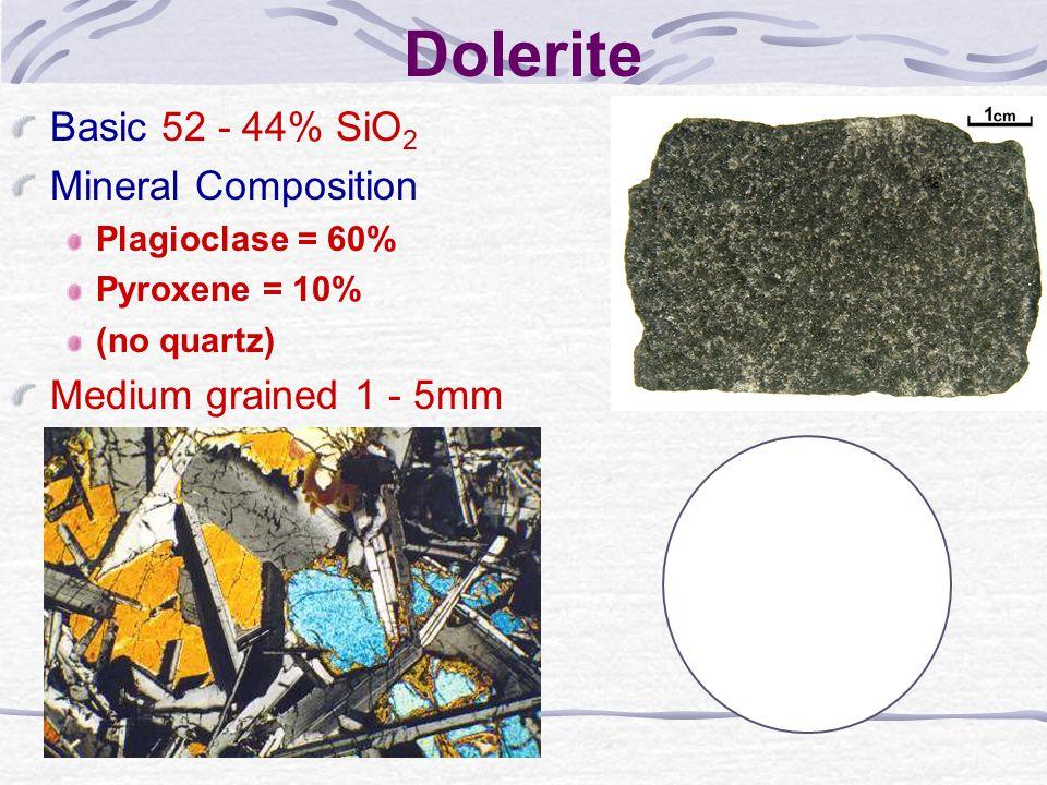 Dolerite Basic 52 - 44% SiO2 Mineral Composition
